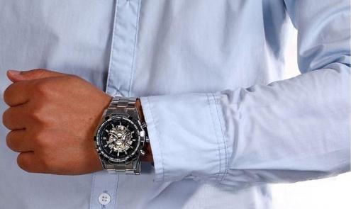 Часы Winner скелетон с черным циферблатом